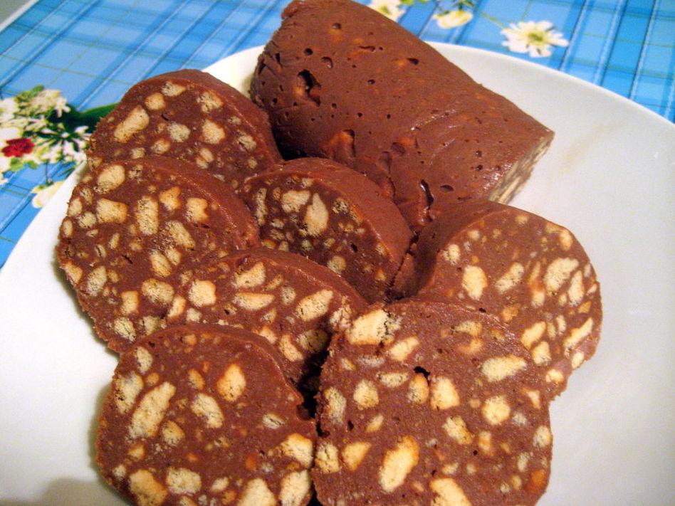 Рецепт сладкая колбаса из печенья и какао рецепт